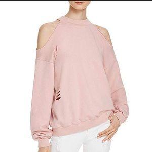Honey Punch Tops - Honey Punch Cold Shoulder Destroyed Sweatshirt
